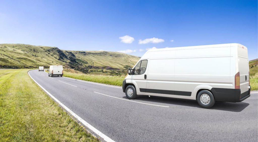 vans on open road